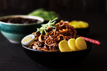 Korean Black Bean Noodles - A savory black bean sauce loaded with seared pork belly & vegetables over soft, chewy noodles. Absolutely hearty, healthy & satisfying.
