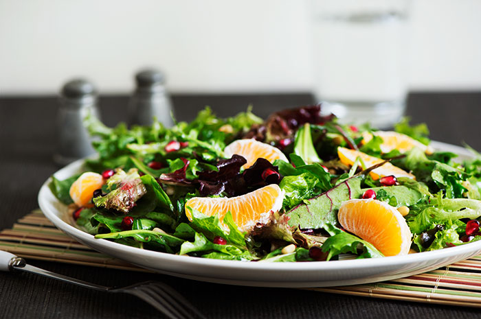 Fresh spring mix, sweet mandarins, beautiful pomegranate & earthy pine nuts tossed with a magical sweet, tangy & savory vinaigrette dressing. Healthy & perfect for a summer side dish or a light meal.