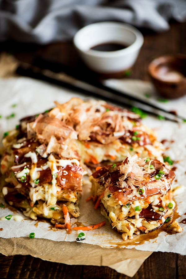 Okonomiyaki savory japanese pancake curious nut delightful savory japanese pancakes made from an easy to make batter cabbage and bacon topped forumfinder Choice Image