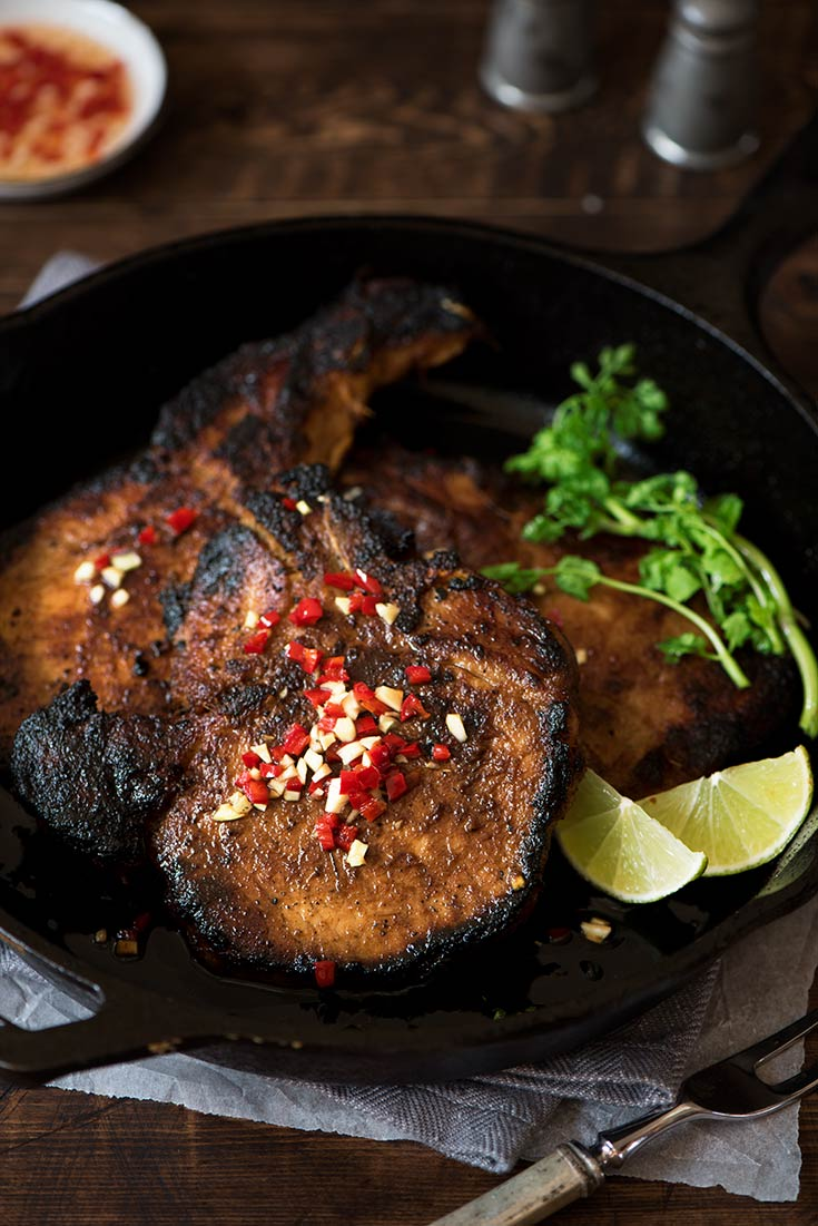 Tender & juicy smoky lemongrass marinated pork chops with a special dipping sauce. Cooks in 10 minutes & made from common ingredients.